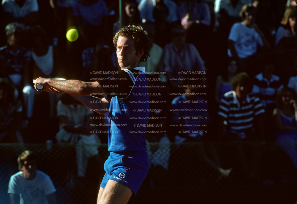 PALO ALTO, CA -  SEPTEMBER 23:  John McEnroe serving during an exhibition match played in Stanford University on September 23, 1981 in Palo Alto, California.   McEnroe attended Stanford in 1978.  (Photo by David Madison/Getty Images) *** Local Caption *** John McEnroe
