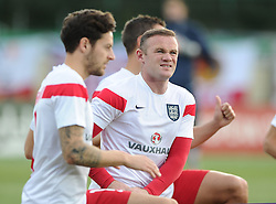 Wayne Rooney of England (Manchester United) spots wife Coleen and son Kai in the crowd  - Mandatory byline: Joe Meredith/JMP - 07966386802 - 05/09/2015 - FOOTBALL- INTERNATIONAL - San Marino Stadium - Serravalle - San Marino v England - UEFA EURO Qualifers Group Stage