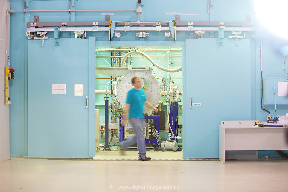 Australian Synchrotron, Nigel Kirby walking out of the XAS hutch