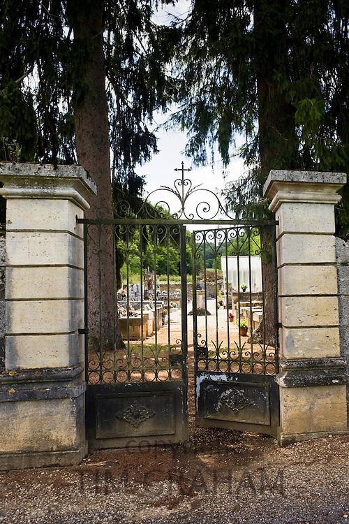 Cemetery graveyard at St Amand de Coly, Dordogne, France