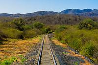 Train tracks of the Chihuahua al Pacifico Railroad near El Fuerte, Mexico