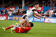 Bradford Bulls second row James Bentley (20) passes the ball out wide during the Kingstone Press Championship match between Sheffield Eagles and Bradford Bulls at, The Beaumont Legal Stadium, Wakefield, United Kingdom on 3 September 2017. Photo by Simon Davies.