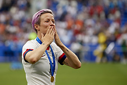 July 7, 2019 - Lyon, France - Megan Rapinoe (Reign FC) of United States celebrates after winning the 2019 FIFA Women's World Cup France Final match between The United State of America and The Netherlands at Stade de Lyon on July 7, 2019 in Lyon, France. (Credit Image: © Jose Breton/NurPhoto via ZUMA Press)