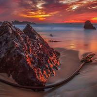 Kelp around a rock at sunset on Garrapata State Beach, Big Sur Coast, California.