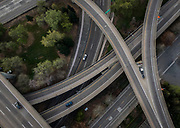 Morning rush hour traffic is light on the Interstate 5-Highway 50 interchange ramps in Sacramento, shown in a drone image from March 23, 2020, the first Monday after Gov. Gavin Newsom's statewide shutdown order to slow the spread of the coronavirus.