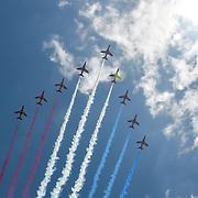 Red Arrows, Queen's 93rd birthday flypast 2019, on 8 June 2019, Trafalgar Square, London, UK