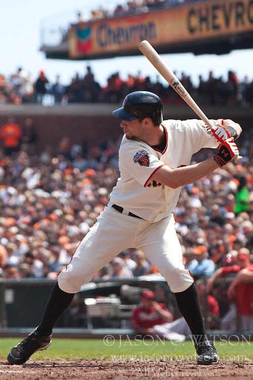 September 4, 2011; San Francisco, CA, USA;  San Francisco Giants first baseman Brandon Belt (9) at bat against the Arizona Diamondbacks during the second inning at AT&T Park. Arizona defeated San Francisco 4-1.