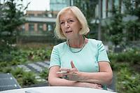 18 AUG 2015, BERLIN/GERMANY:<br /> Johanna Wanka, CDU, Bundesforschungsministerin, waehrend einem Interview, Innenhof, Bundesministerium fuer Bildung und Forschung<br /> IMAGE: 20150818-02-001