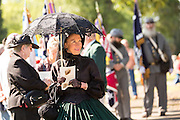 A Civil war re-enactor in period mourning costume during a service at Elmwood Cemetery to mark Confederate Memorial Day May 2, 2015 in Columbia, SC. Confederate Memorial Day is a official state holiday in South Carolina and honors those that served during the Civil War.
