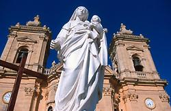 MALTA GOZO XAGHRA JUL00 - The statue of Holy Mary with Jesus in front of the Church in Xaghra village, Gozo.. . jre/Photo by Jiri Rezac. . © Jiri Rezac 2000. . Tel:   +44 (0) 7050 110 417. Email: info@jirirezac.com. Web:   www.jirirezac.com