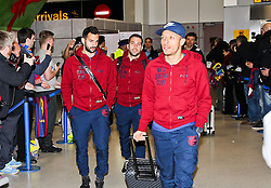 Adriano of FC Barcelona arrives at Manchester Airport with the squad ahead of the UEFA Champions League tie against Manchester City - Photo mandatory by-line: Matt McNulty/JMP - Mobile: 07966 386802 - 23/02/2015 - SPORT - Football - Manchester - Manchester Airport