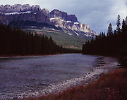 Castle Mountain rising above the Bow River, Banff National Park, Alberta, Canada.