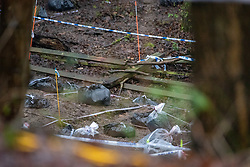 © Licensed to London News Pictures. 12/12/2019. Gerrards Cross, UK. Police evidence bags sit on woodland floor at the site of a search operation as the Metropolitan Police Service confirm they are searching woodland in Beaconsfield, Buckinghamshire in connection with the disappearance and murder of Mohammed 'Shah' Subhani. Police have been in the area conducting operations on Hedgerley Lane since Thursday 5th December 2019 and are combing wooded area with specialist officers, assisted by specialist search dogs. Photo credit: Peter Manning/LNP