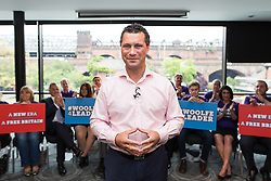 © Licensed to London News Pictures . 26/07/2016 . Manchester , UK . STEVEN WOOLFE MEP speaks at a rally at the Castlefield Rooms in Manchester , setting out his bid to be the next leader of UKIP , following Nigel Farage's resignation . Woolfe is currently UKIP MEP for North West England and UKIP's Migration and Financial Affairs Spokesman . Photo credit : Joel Goodman/LNP
