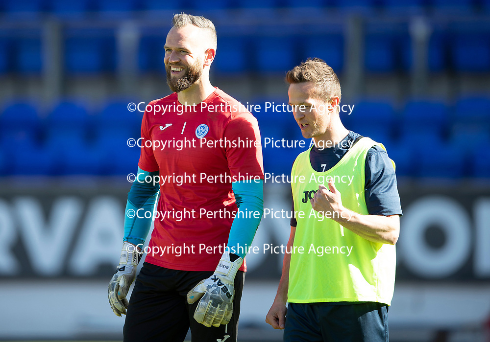 St Johnstone Training…10.05.18<br />Alan Mannus and Chris Millar pictured during training before playing their final game for St Johnstone against Ross County<br />Picture by Graeme Hart.<br />Copyright Perthshire Picture Agency<br />Tel: 01738 623350  Mobile: 07990 594431