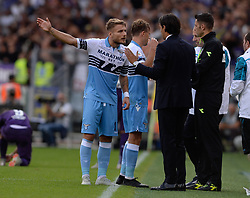 October 7, 2018 - Rome, Italy - Ciro Immobile, Simone Inzaghi during the Italian Serie A football match between S.S. Lazio and Fiorentina at the Olympic Stadium in Rome, on october 07, 2018. (Credit Image: © Silvia Lore/NurPhoto/ZUMA Press)