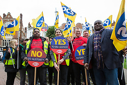 London, UK. 20th March, 2019. Members of the Revenue and Customs branch of the Public and Commercial Services Union (PCS), who have voted overwhelmingly to strike and for an overtime ban in opposition to plans by Her Majesty's Revenue and Customs (HMRC) to close its office in Ealing. If closed, over 200 staff working at the office would face redundancy or being forced to relocate across London to an office in Stratford.