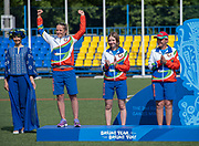 Silver for team Belarus during the women's archery recurve team medal ceremony, at the Olympic Sports Complex on the 22nd June 2019 in Minsk in Belarus. Left to right Karyna Dziominskaya, Karyna Kozlovskaya and Hanna Marusava.