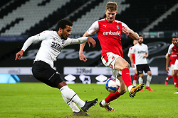 Nathan Byrne of Derby County whips in a cross - Mandatory by-line: Ryan Crockett/JMP - 16/01/2021 - FOOTBALL - Pride Park Stadium - Derby, England - Derby County v Rotherham United - Sky Bet Championship