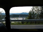 scene along a cross country trip with in a classic Mini Cooper auto - Seabeck Bay on the Hood Canal from classic Mini Cooper