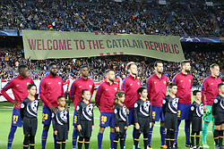September 12, 2017 - Barcelona, Spain - Fans of FC Barcelona display a giant banner reading ''Welcome to the Catalan Republic'' ahead of the UEFA Champions League, Group D football match between FC Barcelona and Juventus FC on September 12, 2017 at Camp Nou stadium in Barcelona, Spain. (Credit Image: © Manuel Blondeau via ZUMA Wire)
