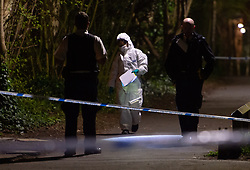 March 26, 2019 - London, London, United Kingdom - Kidbrooke stabbing. ..A forensics and two police officers seen near the crime scene during the searching of evidences...A teen is fighting for his life after being repeatedly stabbed in front of horrified schoolchildren in a road in Kidbrooke, near Blackheath, south east London at 3.24pm today. (Credit Image: © Gustavo Valiente/i-Images via ZUMA Press)