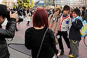 young male models fashion shoot Hachiko square Shibuya Tokyo Japan