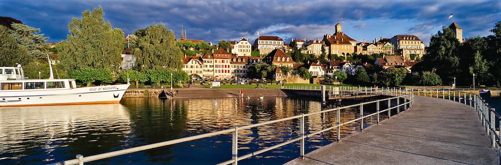 Morat/Murten at dusk, historical city in the county of Freiburg, Switzerland