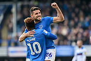 Portsmouth Midfielder, Gareth Evans (26) celebrates after scoring a goal to make it 3-1 during the EFL Sky Bet League 1 match between Portsmouth and Rochdale at Fratton Park, Portsmouth, England on 13 April 2019.