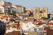 General view of Lisbon  from Santa Justa Lift lookout, with the Cathedral (Sé) on the foregorund.
