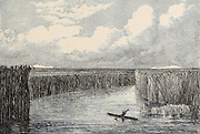 The Mouth of the Jordan, Lake Huleh [Hula] From the book 'Those holy fields : Palestine, illustrated by pen and pencil' by Manning, Samuel, 1822-1881; Religious Tract Society (Great Britain) Published in 1874
