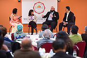 From left to right, Ritu Marwah, Diane Fisher, Abobaker Mojadidi, and Ashwani Dhall have a panel discussion during the World Culture Festival Bay Area Curtain Raiser event at the India Community Center in Milpitas, California, on January 20, 2016. (Stan Olszewski/SOSKIphoto)