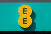 A large store front sign for British mobile network operator and internet service provider EE, or Everything Everywhere, in the city centre on 2nd September, 2021 in Leeds, United Kingdom. EE is the UKs largest mobile network operator with over 27 million subscribers.
