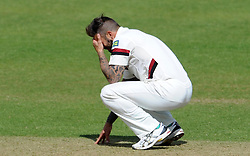 Dejection for Somerset's Peter Trego - Photo mandatory by-line: Harry Trump/JMP - Mobile: 07966 386802 - 29/04/15 - SPORT - CRICKET - LVCC Division One - County Championship - Somerset v Middlesex - Day 4 - The County Ground, Taunton, England.