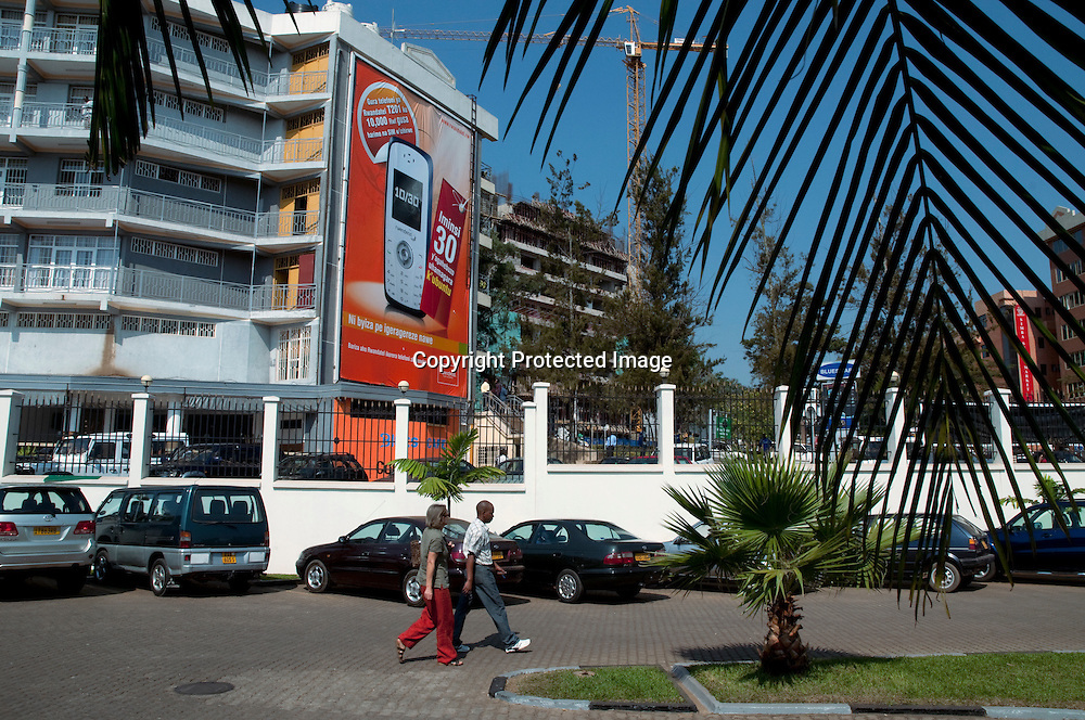 A ceel phone billborad at a new shopping center and new contruction in the Rwandan capital of Kigali.   In 2008 the Rwandan economy registered a 11.2 per cent grow rate.
