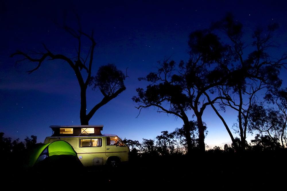 Camping on Murray River, Australia. <br /> Photo by Lorenz Berna
