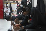 Jenkins Michael e Johnson Dominique negli spogliatoi, EA7 Emporio Armani Milano vs Umana Reyer Venezia - 15 giornata Campionato LBA 2017/2018, Milano Mediolanum Forum 14 gennaio 2018 - foto BERTANI/Ciamillo