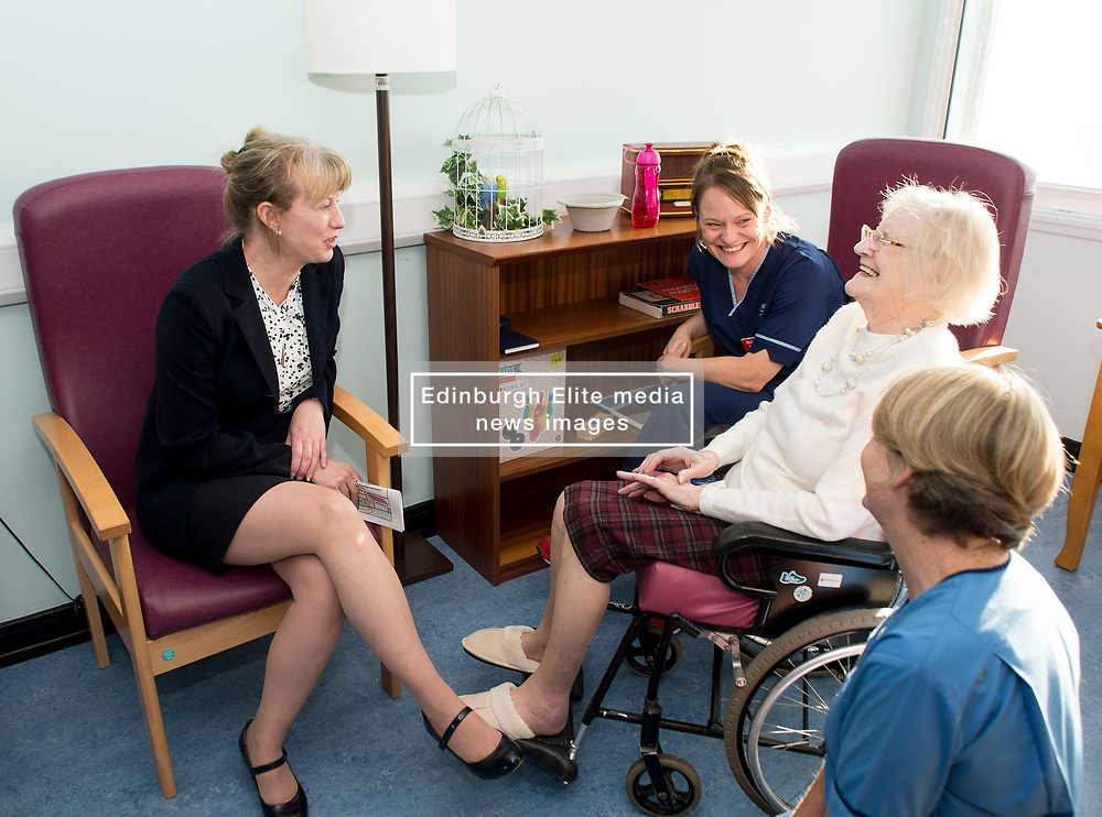 Scottish Health Secretary Shona Robison meets with patient Jean Seath from Kirkcaldy at the town's Victoria Hospital to announce £5 million GBP extra funding for NHS services in Scotland to help with tackling the increased strain on health services during the winter months.<br /> <br /> © Dave Johnston/ EEm