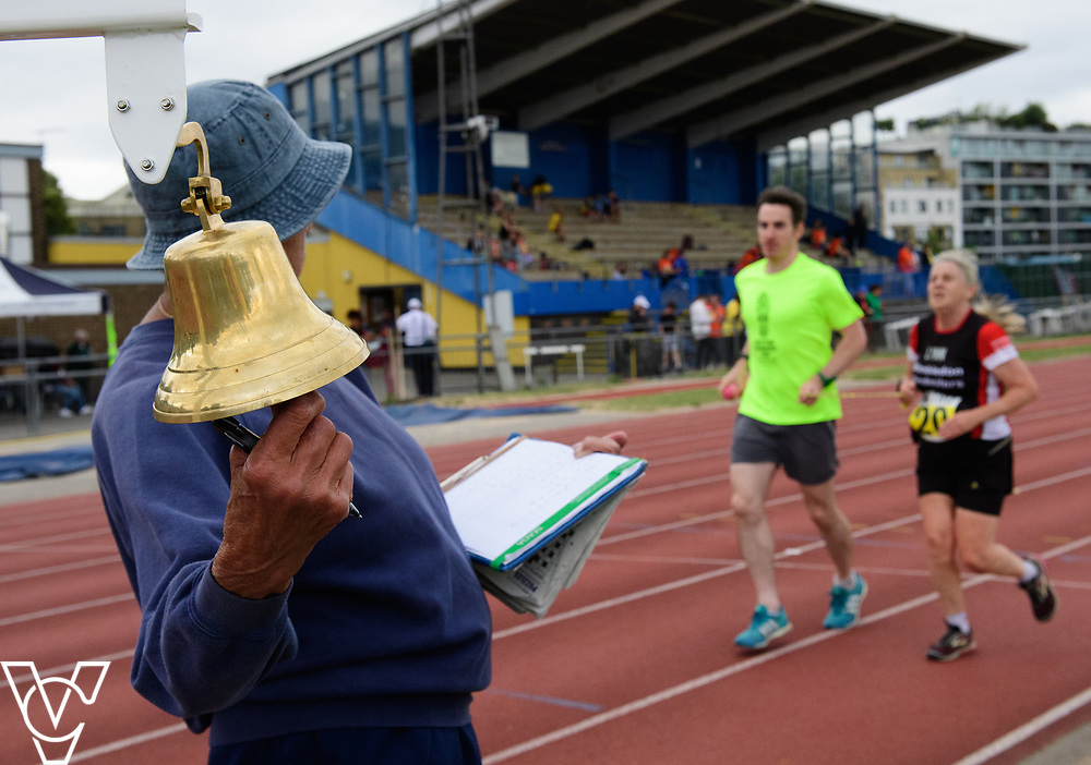 Event: 5000 meter relay<br /> Competitors, from left: <br /> <br /> Metro Blind Sport's 42nd Athletics Open, held at Mile End Stadium, Tower Hamlets, London.<br /> <br /> Picture: Chris Vaughan Photography for Metro Blind Sports<br /> Date: June 16, 2018