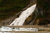 Nugget Falls flowing into Mendenhall Lake, next to the Mendenhall Glacier, Mendenhall Valley, Juneau, Southeast Alaska USA
