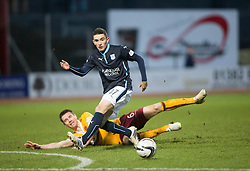 Motherwell's Stephen McManus and Dundee's Alex Harris. <br /> Dundee 4 v 1 Motherwell, SPFL Premiership played 10/1/2015 at Dundee's home ground Dens Park.