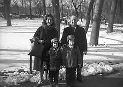 Family snap shot taken in Central Park NYC in the winter of 1960