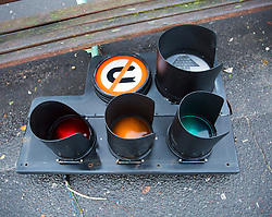 Brighton, UK. 20/11/2016, A traffic light lies on the floor after being blown off during the onslaught of storm Angus who hit Brighton and Hove with strong waves and powerful 80mph winds. Photo Credit: Hugo Michiels