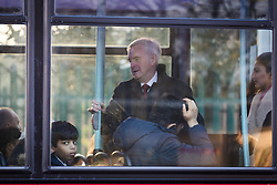© Licensed to London News Pictures. 22/11/2017. London, UK. JOHN MCDONNELL, Labour Shadow Chancellor on a bus as he heads for Parliament on Budget day. Photo credit: Vickie Flores/LNP