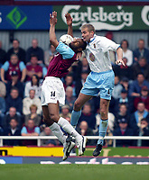 Photo: Scott Heavey<br />West Ham United V Aston Villa<br />12/03/03.<br />Freddie Kanoute controls from Olof Mellberg during this FA Barclaycard Premiership match at Upton Park.