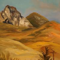 View of Hollister Peak from Los Osos.  Plein air oil sketch, 9 x 12