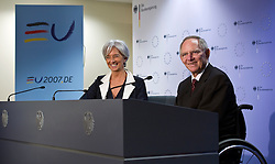 Christine Lagarde, France's finance minister, left, and Wolfgang Schaeuble, Germany's finance minister, hold a joint press conference following the first meeting of the Van Rompuy task force on economic governance, in Brussels, Belgium, on Friday, May 21, 2010. (Photo © Jock Fistick)