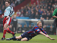 Photo:Alan Crowhurst, Digitalsport<br /> NORWAY ONLY<br /> <br /> CRYSTAL PALACE v WALSALL,Nationwide Division One,01/05/2004.Aki Riihilahti goes down in agony.