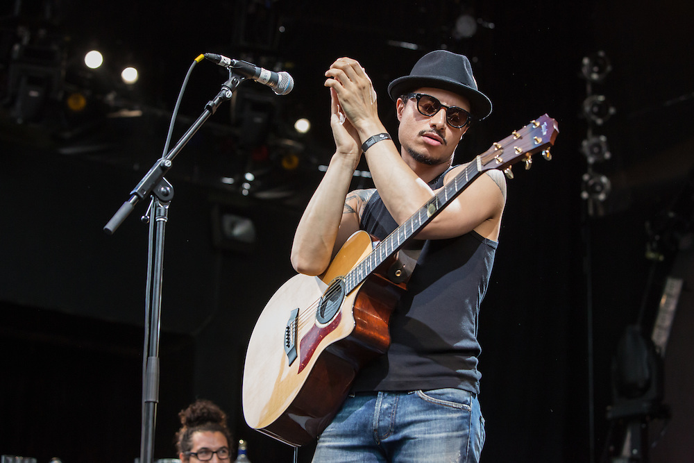 José James on stage at Celebrate Brooklyn at the Prospect Park Bandshell. James played a mix of jazz, fusion, hip-hop and neo soul.