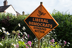 Chesham, UK. 16th June, 2021. A campaign sign for the Liberal Democrat candidate Sarah Green is pictured on the eve of the Chesham and Amersham by-election. The by-election was triggered by the death of Dame Cheryl Gillan, who had been the constituency's MP for 29 years, and it is expected to be a tight race between the Conservatives and the Liberal Democrats.